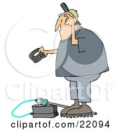 Clipart Illustration Of A Confused White Man Scratching His Head Reading A Gas Meter Detector Pager While Working