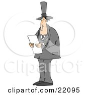 Clipart Illustration Of Abraham Lincoln In A Black Suit And Top Hat Standing And Reading While Giving A Speech As American President