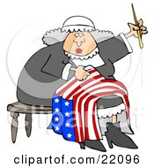 Clipart Illustration Of Betsy Ross Sitting On A Stool And Sewing The Betsy Ross Flag With 13 Stars