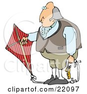 Clipart Illustration Of Benjamin Franklin Holding A Red Kite With A Key On The Ropes While Conducting His Electrical Experiment by Dennis Cox