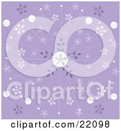 Purple Christmas Background Of Elegant White Snowflake And Circle Patterns Bursting Front The Center by elaineitalia