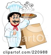 Royalty Free RF Clipart Illustration Of A Male Chef Holding Up A Pizza By A Blank Sidewalk Board by visekart