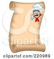 Vertical Parchment Sign Of A Chef Gesturing Ok 1