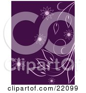 Clipart Picture Of A Purple Floral Background With White Plant Leaves And Flower Drawings