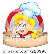 Female Chef Gesturing Ok Over A Blank Parchment Banner