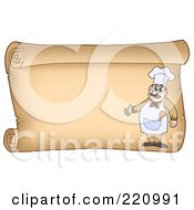 Horizontal Parchment Sign Of A Chef Presenting