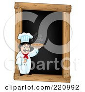 Royalty Free RF Clipart Illustration Of A Male Chef Holding A Pizza On A Blank Menu Chalk Board
