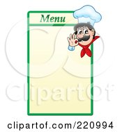 Royalty Free RF Clipart Illustration Of A Male Chef Gesturing Ok On A Green And Yellow Menu Board by visekart
