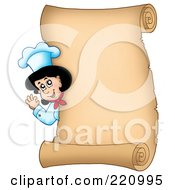 Vertical Parchment Sign Of A Female Chef Waving