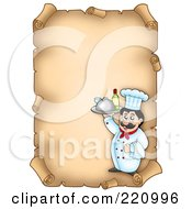 Vertical Aged Parchment Sign Of A Chef Serving Wine