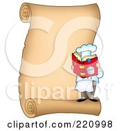 Vertical Parchment Sign Of A Male Chef Reading A Cook Book