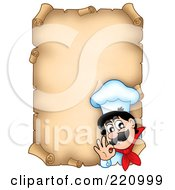 Aged Vertical Parchment Sign Of A Chef Gesturing Ok