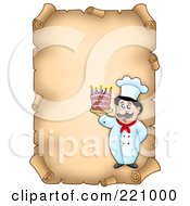 Vertical Aged Parchment Sign Of A Chef Serving Cake