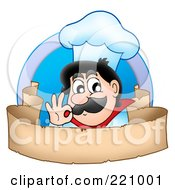 Male Chef Gesturing Ok Over A Blank Parchment Banner