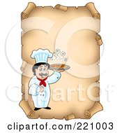 Royalty Free RF Clipart Illustration Of A Vertical Aged Parchment Sign Of A Chef Serving Pizza by visekart