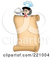 Vertical Parchment Sign Of A Female Chef Holding A Platter