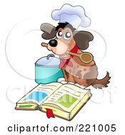 Royalty Free RF Clipart Illustration Of A Dog Chef Holding A Spoon In His Mouth And Reading A Cook Book