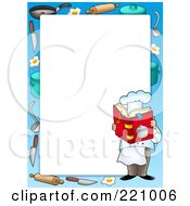 Royalty Free RF Clipart Illustration Of A Male Chef Reading A Cookbook Frame Or Border Around White Space