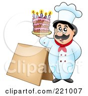 Male Chef Holding Up A Cake By A Blank Sidewalk Board