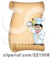 Vertical Parchment Sign Of A Male Chef Serving Wine