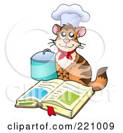 Chef Cat Wearing A Hat And Sitting By An Open Cook Book And Pot