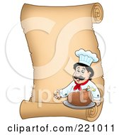 Vertical Parchment Sign Of A Male Chef Serving A Turkey