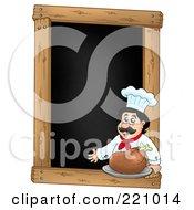 Male Chef With A Roasted Turkey On A Blank Menu Chalk Board
