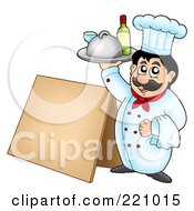Royalty Free RF Clipart Illustration Of A Male Chef Holding Up Wine By A Blank Sidewalk Board