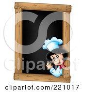 Royalty Free RF Clipart Illustration Of A Female Chef Waving On A Blank Menu Chalk Board