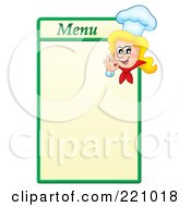 Royalty Free RF Clipart Illustration Of A Female Chef Gesturing Ok On A Green And Yellow Menu Board