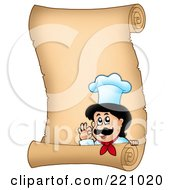Royalty Free RF Clipart Illustration Of A Vertical Parchment Sign Of A Chef Gesturing Ok 2