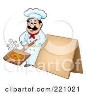 Royalty Free RF Clipart Illustration Of A Male Chef Holding Out A Pizza By A Blank Sidewalk Board by visekart