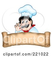 Royalty Free RF Clipart Illustration Of A Male Chef Gesturing Ok Above A Parchment Scroll Banner