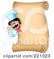 Royalty Free RF Clipart Illustration Of A Vertical Parchment Sign Of A Chef Gesturing Ok 3
