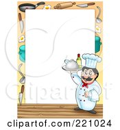 Royalty Free RF Clipart Illustration Of A Male Chef Serving Wine Frame Or Border Around White Space