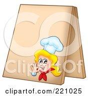 Royalty Free RF Clipart Illustration Of A Female Chef Gesturing OK On A Blank Sidewalk Board