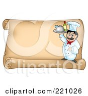 Horizontal Parchment Sign Of A Male Chef Serving Wine