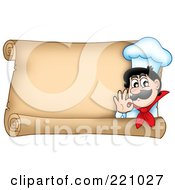 Horizontal Parchment Sign Of A Chef Gesturing Ok
