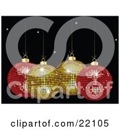 Clipart Picture Of Two Yellow And Two Red Mirror Disco Christmas Ornaments Sparkling Suspended Over A Black Starry Background by elaineitalia