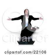 Thankful Young Caucasian Businesswoman Kneeling Before Her Laptop Computer And Thanking The Lord For Success Isolated On A White Background