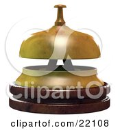 Clipart Illustration Of A Wooden And Brass Service Bell In An Office Or Hotel Symbolizing Customer Service