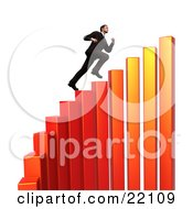 Successful Young Caucasian Businessman Sprinting Up Steps On A Red And Orange Curving Increasing Bar Graph
