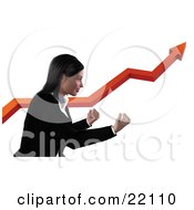 Clipart Illustration Of A Professional Business Woman In A Black Suit Holding Here Fists Out And Standing Alongside A Red Arrow Increasing On A Graph Symbolizing Success And Ambition