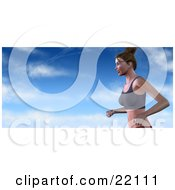 Clipart Illustration Of A Healthy And Fit Caucasian Woman With Her Hair Tied Up Running In A Sports Bra Against A Blue Cloudy Sky