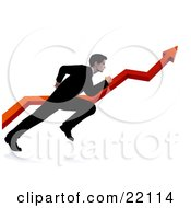 Clipart Illustration Of A Professional Businessman In A Black Suit Running Alongside A Red Arrow Increasing On A Graph Symbolizing Success