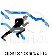 Clipart Illustration Of A Corporate Businessman In A Suit Trying To Run And Escape From The Crashing Arrows On A Bar Graph
