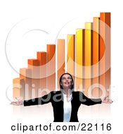 Clipart Illustration Of A Pleased And Thankful Young Caucasian Businesswoman Holding Out Her Arms And Smiling Upwards Under A Golden Increasing Bar Graph