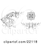 Clipart Picture Of Different Floral Design Elements Black And White