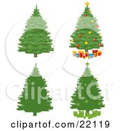 Clipart Illustration Of A Collection Of Green Pine Xmas Trees Some Silhouetted Some With Ornaments And Presents