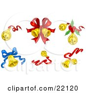 Collection Of Xmas Jingle Bells With Red And Blue Bows And Holly